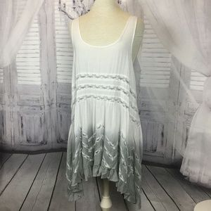 Free People Nightgown Light Gray Ruffle Lace Large